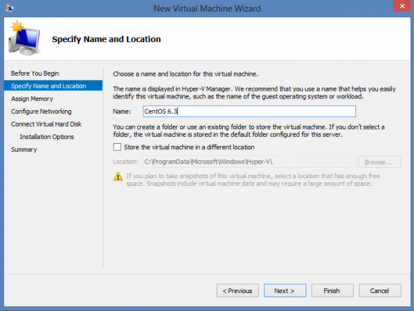 Install CentOS 6.3 on Windows 8 Hyper-V – Create new virtual machine