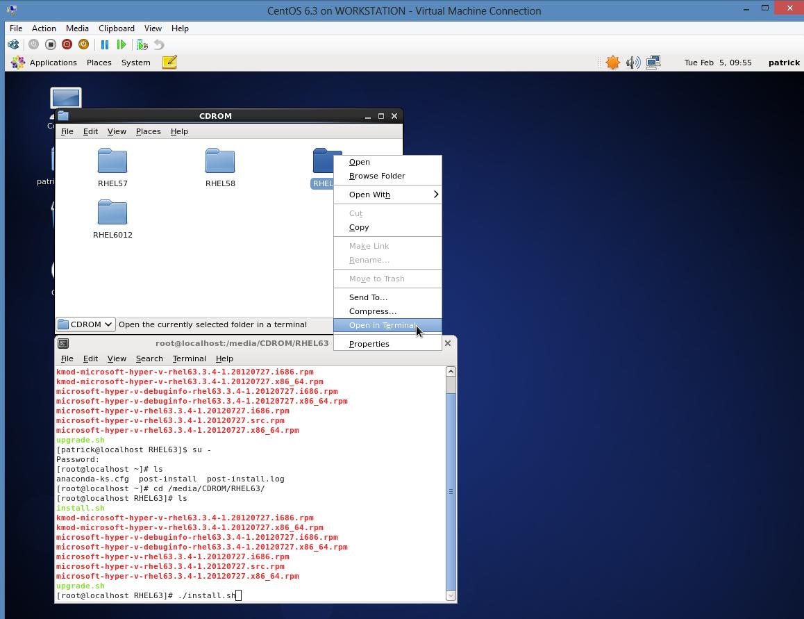 Install CentOS 6.3 on Windows 8 Hyper-V – Install Integration Services Commands
