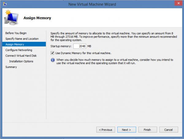 Install CentOS 6.3 on Windows 8 Hyper-V – Memory Allocation