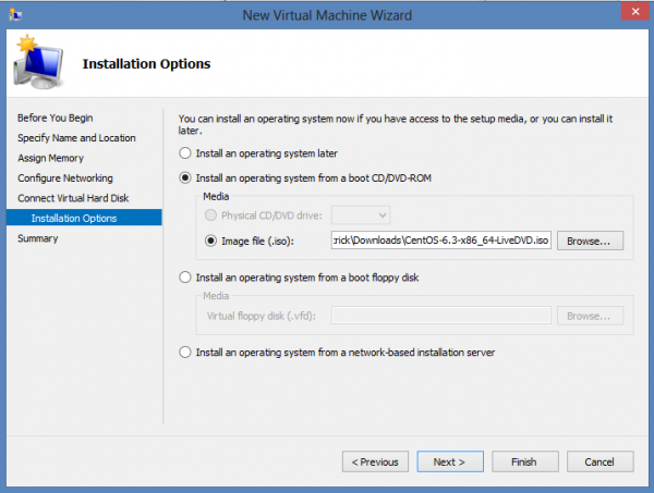 Install CentOS 6.3 on Windows 8 Hyper-V – Select ISO