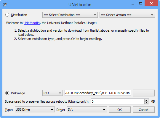 Xen Cloud Platform Install Start unetbootin
