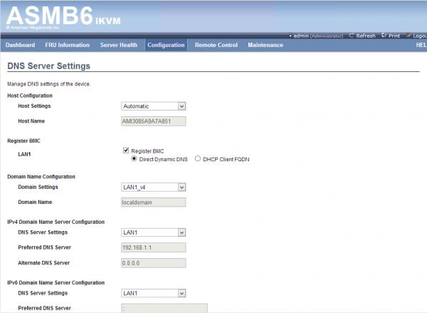 ASUS ASMB6 iKVM Configuration - DNS