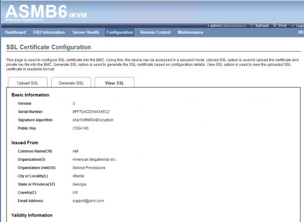 ASUS ASMB6 iKVM Configuration - SSL Configuration