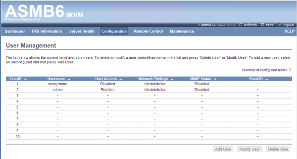 ASUS ASMB6 iKVM Configuration - Users