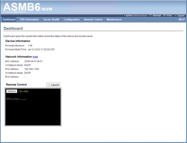 ASUS ASMB6 iKVM Dashboard