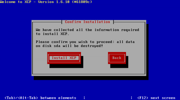 XCP Installation - Confirm Installation