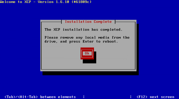 XCP Installation - Click OK and Remove USB Device