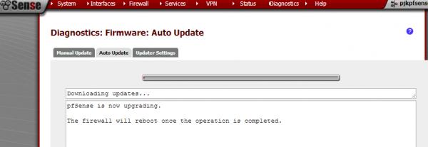 pfsense auto-upgrade Auto Update complete