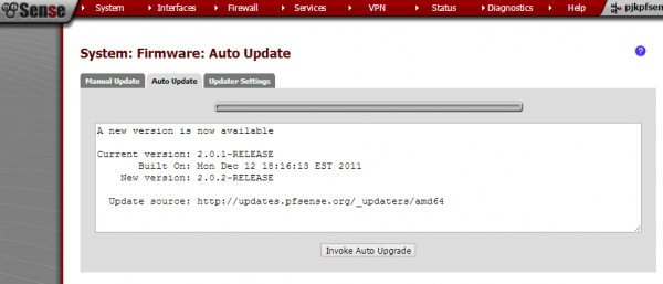 pfsense auto-upgrade Invoke Auto Update