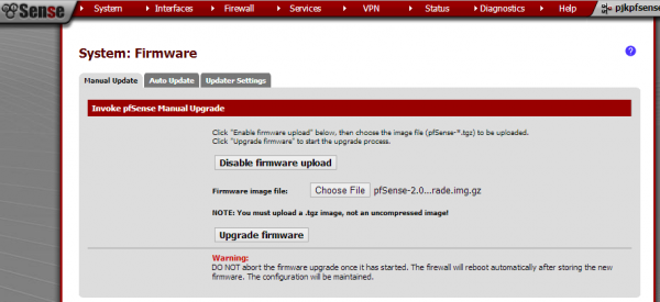 pfsense enable firmware upload - select a gz image not uncompressed