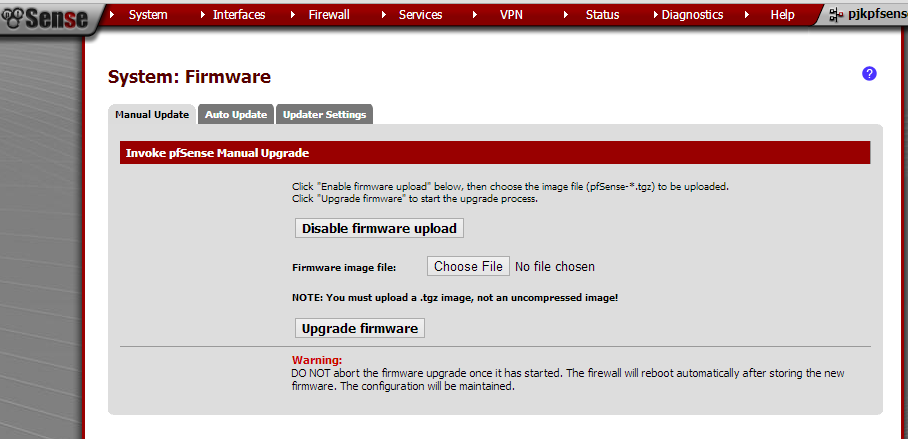 Upgrade your pfsense appliance the easy way - manual and