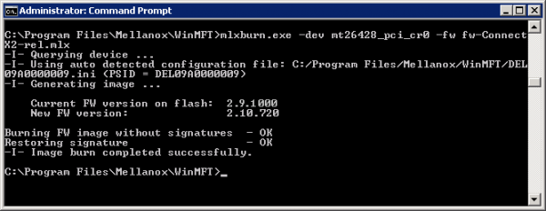 Using mlxburn to burn new firmware