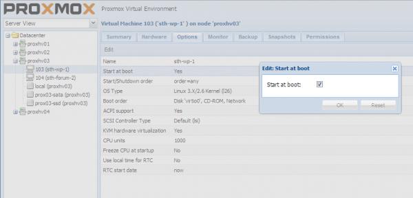 Proxmox - Start Virtual Machine on Boot