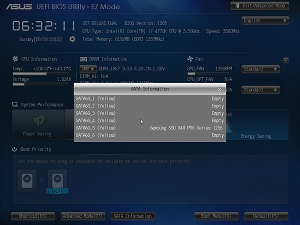 ASUS UEFI BIOS - EZ Mode SATA Information