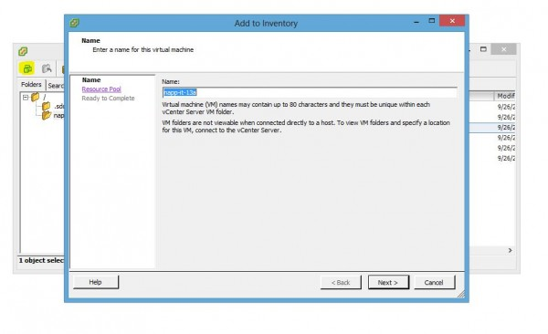 Add napp-it image virtual machine inventory wizard