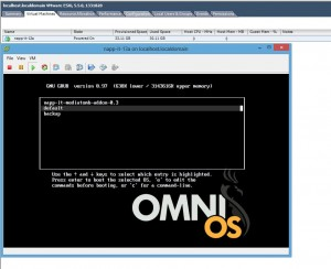 Start OmniOS napp-it image virtual machine