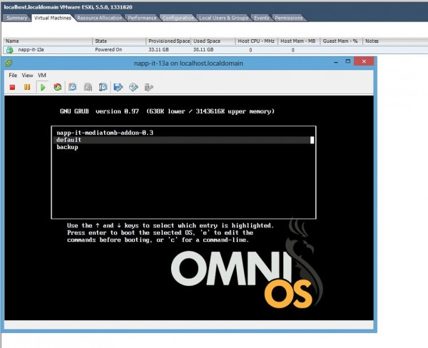 Start OmniOS napp-it image virtual machine