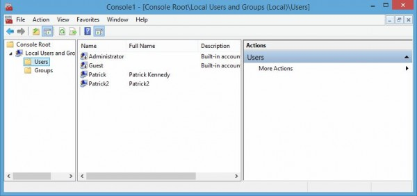 Windows 8.1 Task Manager MMC local users
