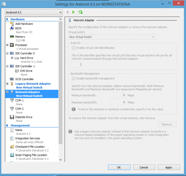 Android-x86 Hyper-V Legacy Network Adapter