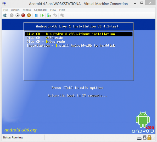 Android-x86 on Hyper-V Boot Screen