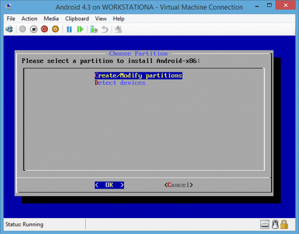 Android-x86 on Hyper-V Create and Modify Partitions
