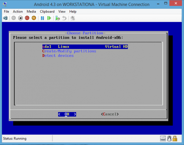 Android-x86 on Hyper-V Select Created Partition