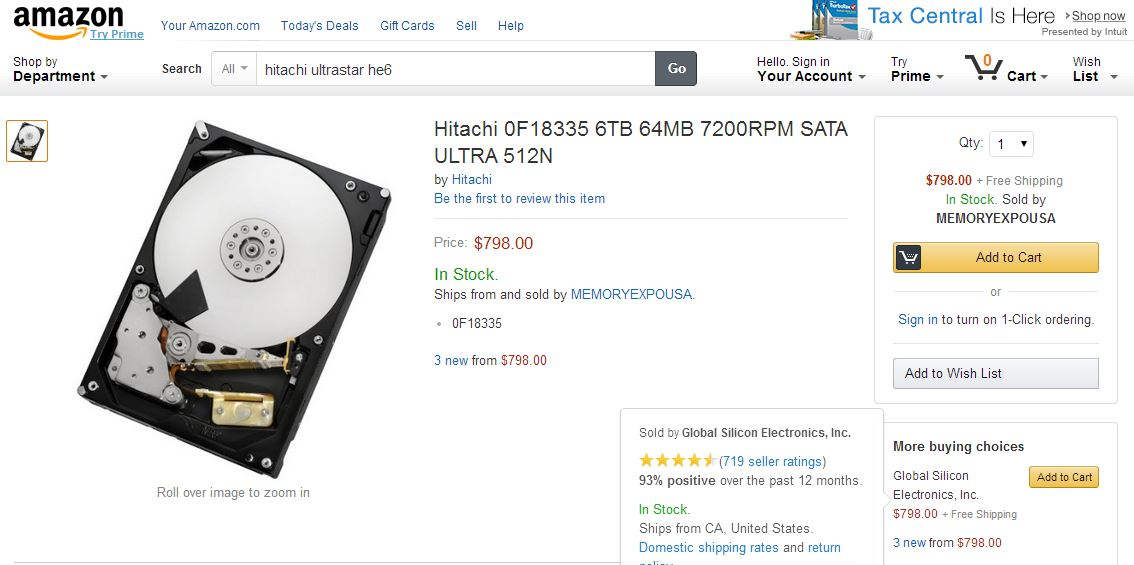 HitachiGST 6TB Hard Drive Amazon