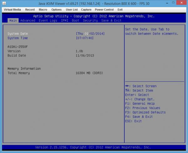 Supermicro A1SAi-2550F BIOS KVM over IP