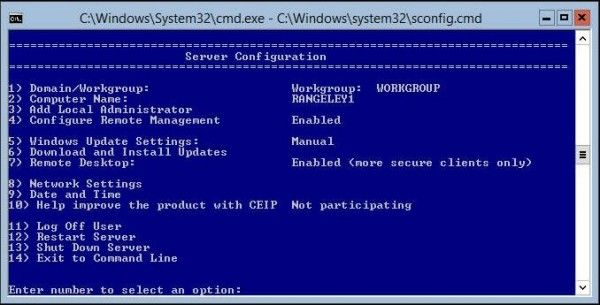 Hyper-V Server 2012 R2 Remote Desktop Enabled