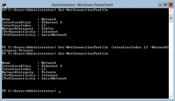 Hyper-V Server 2012 R2 Set Network from Public to Private