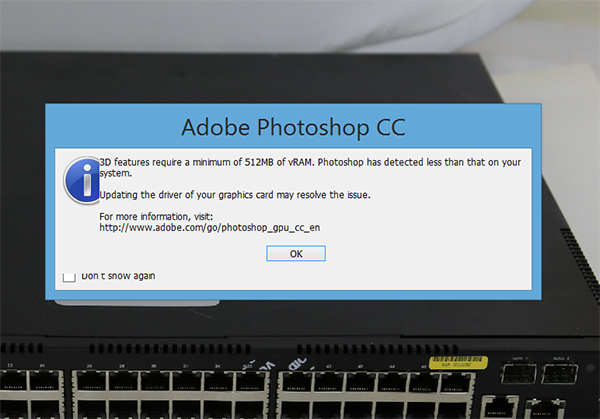 Lenovo Yoga 2 Pro -Adobe Photoshop Message