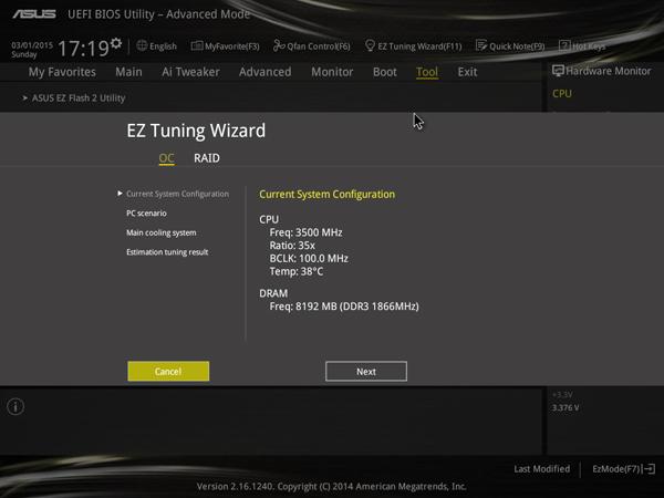 ASUS Z97 UEFI EZ Tuning Wizard
