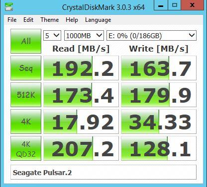 Seagate Pulsar2 200GB - CrystalDiskMark