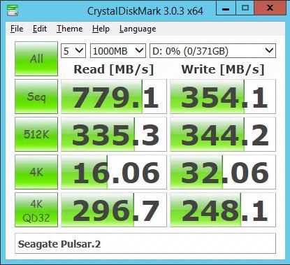Seagate Pulsar.2 200GB RAID 0 - CrystalDiskMark