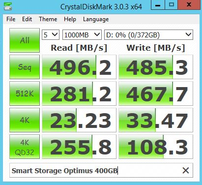 Smart Storage Optimus 400GB - CrystalDiskMark