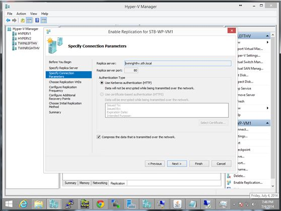 Hyper-V Manager - Enable Replication Wizard Destination
