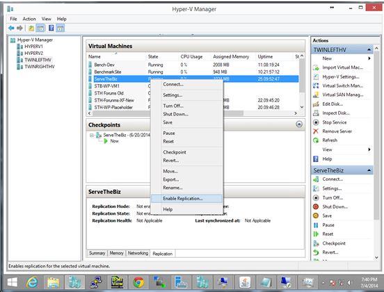 Hyper-V Manager - Enable Replication