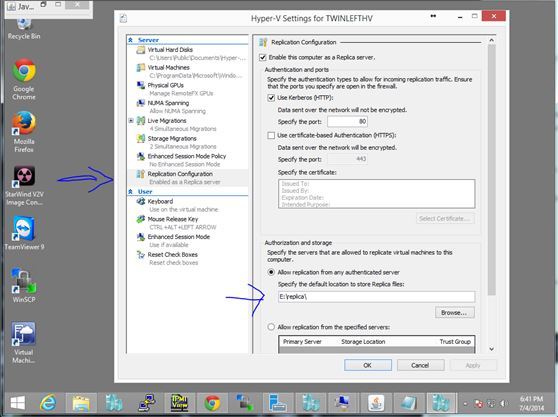 Select Hyper-V replication settings