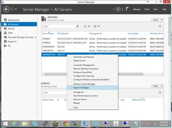 Server Manager Console - Hyper-V Manager