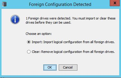 LSI MegaRAID Foreign Configuration - Import or Clear