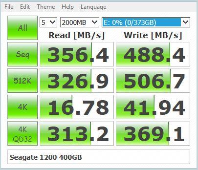 Seagate 1200 400GB CrystalDiskMark Benchmark