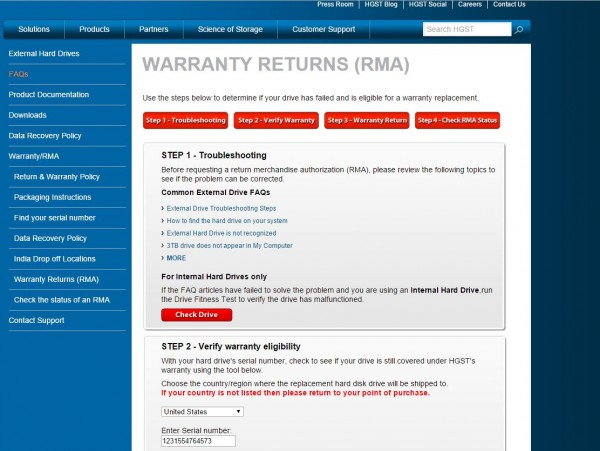HGST Warranty Checker