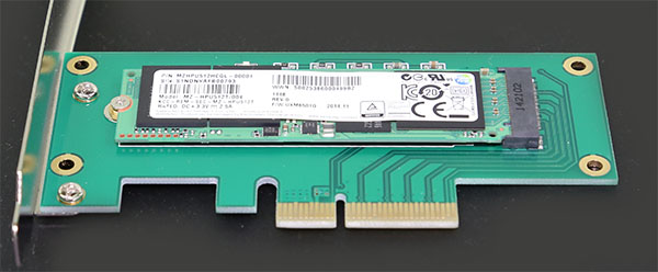 M2 PCIe x4 adapter m2 slot with Samsung XP941 512GB
