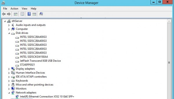Intel Ethernet Connection X552 10GbE SFP Device Manager