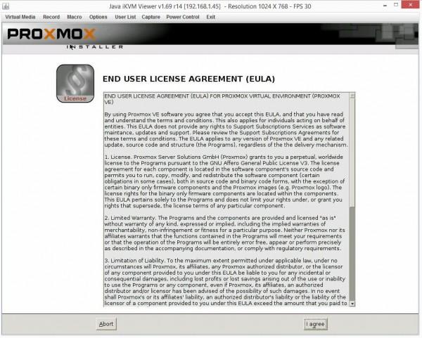Proxmox VE 3.4 Installer EULA