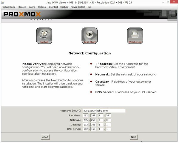 Proxmox VE 3.4 Installer Network
