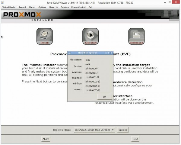Proxmox VE 3.4 Installer Target Harddisk Options