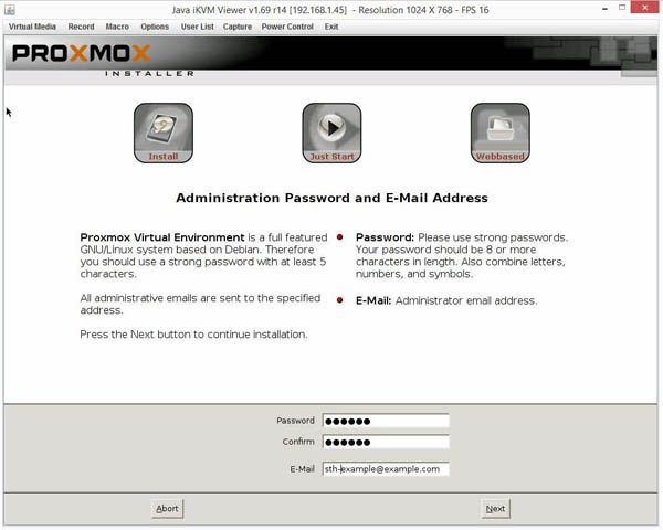 Proxmox VE 3.4 Installer password and email
