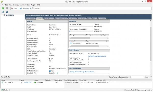 Supermicro X10SDV-F ESXi 6.0.0 Installed