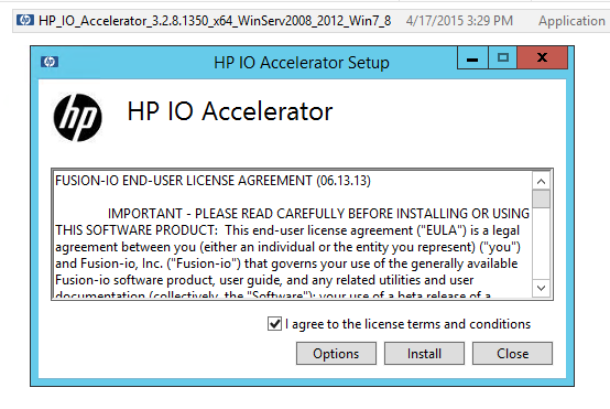 Fusion-io ioDrive installation - HP Support- Windows install